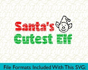 Santa's Cutest Elf Svg Png Dxf Eps Pdf Jpeg files for Cameo or Cricut Elf SVG Santa SVG Baby First Christmas SVG Christmas Shirt