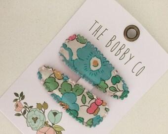Girl hair clip -Baby hair clip - hair clip set -baby snap clips - toddler hair clip-Liberty Tawn snap Hair Clips - blue and green Floral
