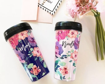 Floral Coffee tumbler-bridesmaids gifts, maid of honor gift, birthday gift, coffee lovers gift, teacher gifts, boss gift, Mother's Day gift