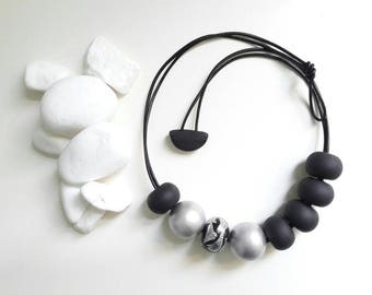 Beautiful modern necklace, black necklace,silver,large beads necklace, statement necklace, fimo necklace, gift for her, polymer clay jewelry