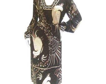 Emilio Pucci Rare Silk Jersey Birds of Paradise Dress. 1970's.