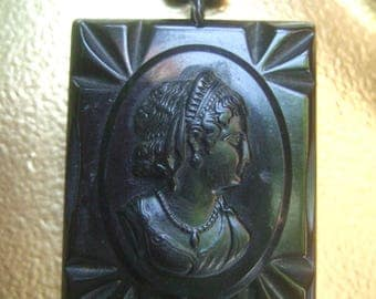 Carved Ebony Lucite Cameo Pendant Necklace c 1950s