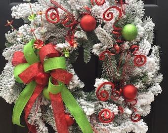 Christmas Wreath, Red Green Wreath, Flocked Wreath, Wreath Street Floral, Door Wreath, Holiday Wreath