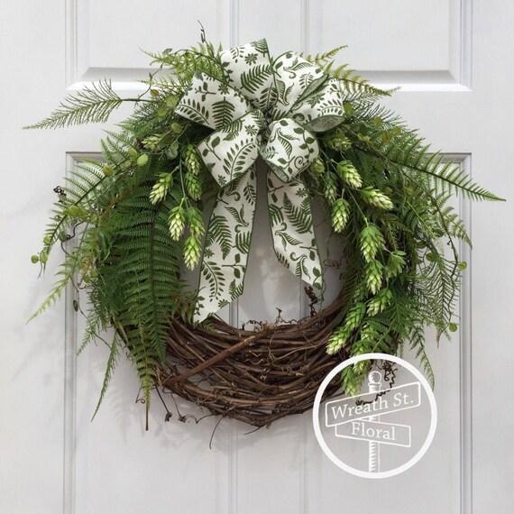 Greenery Wreath, Hops Wreath, Front Door Wreath, Wreath Street Floral, Grapevine Wreath, Summer Wreath, Year Round Wreath, Spring Wreath