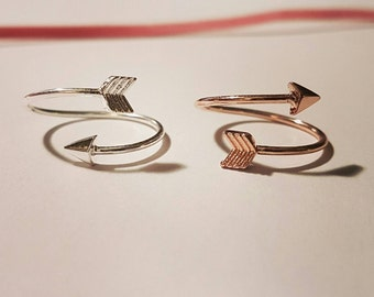 Gold plated, arrow ring rose gold or plated silver