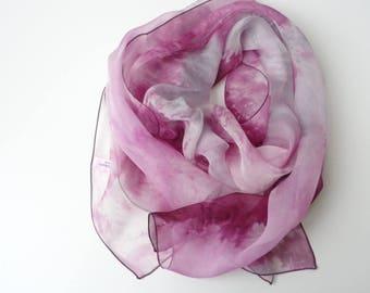 pastel pink chiffon  silk scarf, hand dyed silk scarf tie dye scarf fuchsia scarf handpainted scarf blush silk scarf