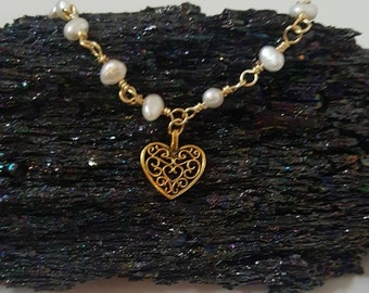 Hand Wrapped Pearl Anklet with Gold Heart Charm
