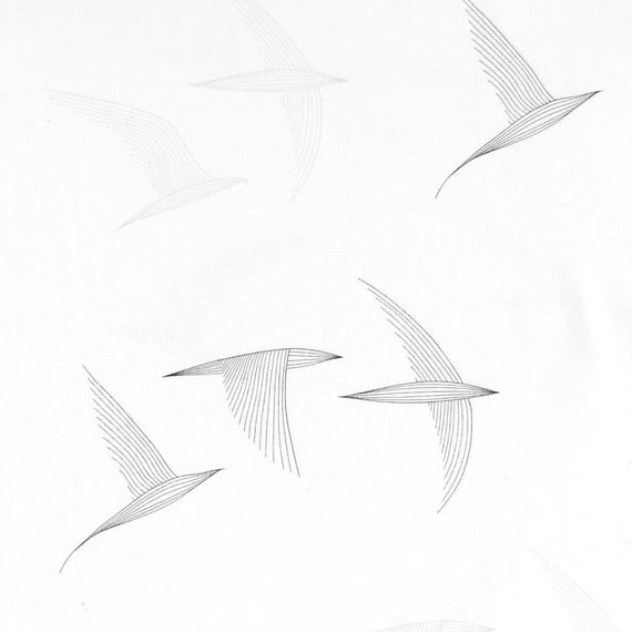 Bird Fabric Scandinavian Fabric Bird Home Decor Black And White Fabric Curtain Fabric Designer Fabric Fabric By The Metre Birds From Kuushti On Etsy