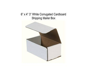"""N=4 (6""""x4""""x3"""") White Corrugated Cardboard Shipping Mailer Boxes - White Outside and Kraft Brown Inside"""