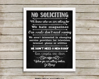 No Soliciting - front door sign - do not disturb - 8x10 printable - digital download