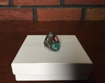 Native American Sterling Silver turquoise/coral ring
