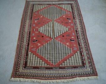 4'2''x6'5'' Boho Kilim Rug, Caucasian Soumak Kilim, Handwoven Mid-Century Rug