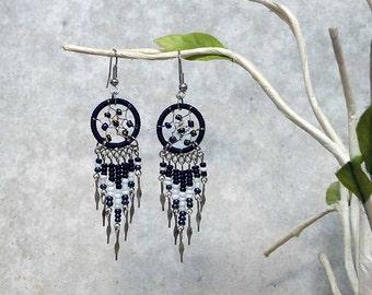 Dream Catcher Earrings Black White Sparkle