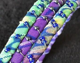 Cool colors, purple, green, sapphire beads, bangles
