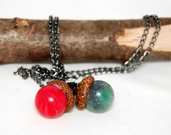 Real Acorn Necklace, wood necklace, Nature nacklace, Resin pendant, Resin necklace, Forest necklace