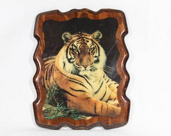 Lacquered Wood Tiger Picture