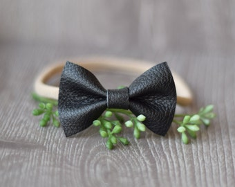 Black Bow Headband, Single leather bow, Leather bow, Leather Headband
