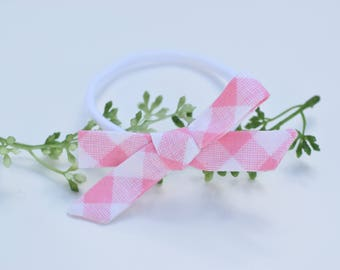 Pink and White, Fabric Tie Bow, Bow headband