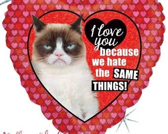 Grumpy Cat Heart Balloon  I Love You Balloon  Valentines Heart Balloon