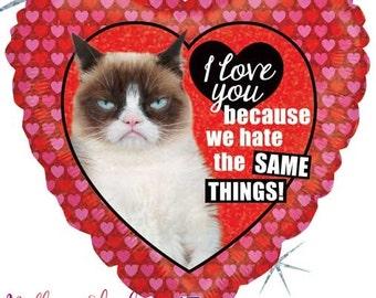 Grumpy Cat Heart Balloon- I Love You Balloon- Valentines Heart Balloon