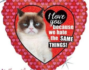 grumpy cat heart balloon i love you balloon valentines heart balloon - Grumpy Cat Valentine