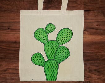 PRICKLY PEAR TOTE- Hand drawn Cotton Tote Bag, Opuntia, Cactus, Desert Plants, Shopper Bag, Unique Gift