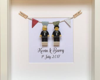 LEGO Personalised Gay Wedding Gift Mr & Mr Same Sex Lego Minifigure Couple Frame, Unique and Handmade