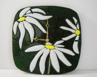 Art Glass Daisy Clock