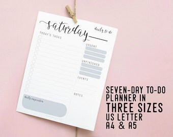 Daily To Do Planner, Printable Organizer, Instant Download, Productivity Desk Planner, DIY Planner, To Do List, Daily Goal, Digital Schedule