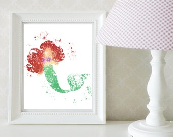 Little Mermaid Ariel Splatter Print