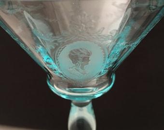 Four Morgantown Glass Azure Blue Martini Stems Etched Elizabeth