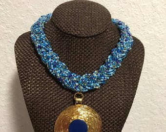 Elegant Royal Blue & Gold Multi-Braided Necklace.