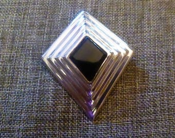 Vintage Taxco 925 Silver & Onyx Pin or Pendant