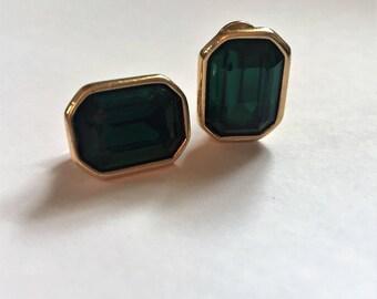 Vintage Monet Green Stone Clip On Earrings, Gold Tone Earrings, Monet Earrings, Monet Jewelry, Vintage Jewelry, Gift for Her, Monet Earrings