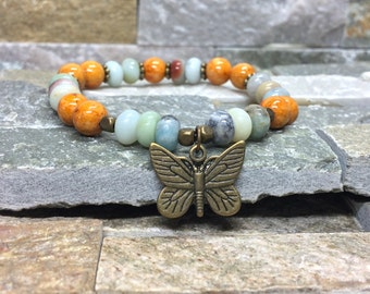 Butterfly bracelet jade Amazonite gemstone bracelet