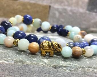 Yoga elephant wrist mala Amazonite bracelet Sodalite