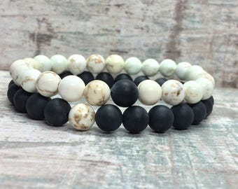 Partner bracelets bracelet set him and Onyx magnesite 8mm long distance relationship