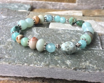 Yoga energy bracelet mala bracelet Larimar turquoise jade