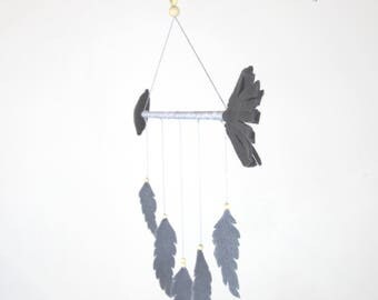 Charcoal Grey Arrow and Light Grey Feathers Mobile