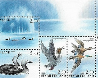 Sheet of 5 Vintage Postage Stamps Finland 1993 (Mint). For collectors, scrapbooks, mail-art, collage, journals