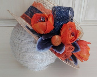 Canotier, Canotier Orange, Canotier Flores, headdress Flores, headdress orange, headdress weddings, flowers handband, FREE shipping!!!