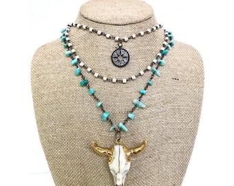 Blue Bull Skull Necklace