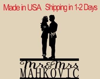 Firewoman & Barber Cake Topper, Wedding Cake Topper,  Bridal Shower Topper, Wedding Decoration, Custom Name Cake Topper, Silhouette,  CT171