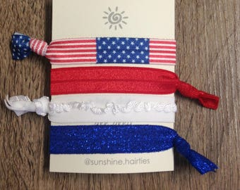 American Flag Hair Ties-Hair Tie Sets-Elastic Hair Ties-Hair Accessories-Gift Ideas-4th of July-Memorial Day-Patriotic-Red-White-Blue
