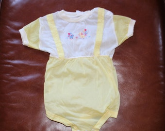 1950's Plastic Lined Yellow and White Baby One-Piece