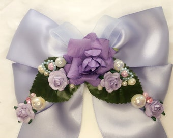 VALENTINES LOVE Lolita Lilac Hair Bow / Hime / Kawaii /bridesmaid, wedding, photoshoot, cheerleader #004