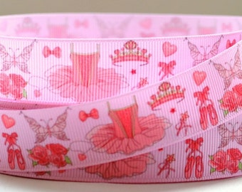 "7/8"" Pink Ballet - TuTu - Grosgrain Ribbon"