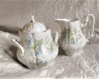 Art Nouveau Porcelain, sugar bowls, porcelain sugar and creamers, floral porcelain, tea party items, formal tea