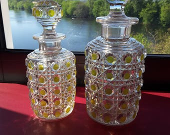Bottles of toiletries in molded Crystal BACCARAT model diamond jewels - Art Glass by BACCARAT - jeweled Model