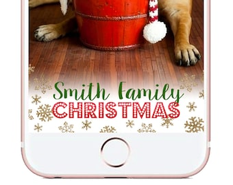 Custom Christmas Snapchat Geofilter, Christmas Party geofilter, Christmas morning snapchat filter